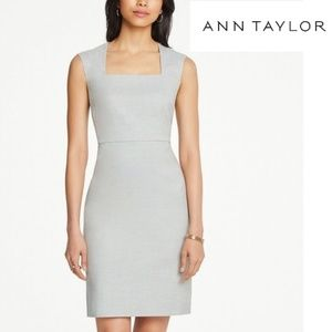 Ann Taylor Crosshatch Square Neck Sheath Dress